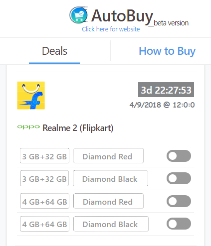 Realme 2 auto buy Flipkart Flash sale