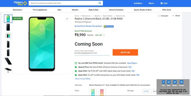 how to buy realme 2 from Flipkart