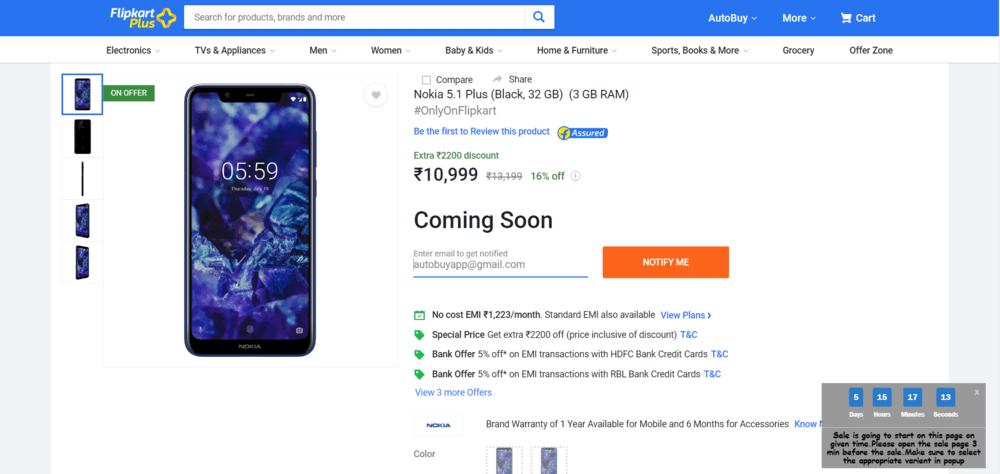 Nokia 5.1 plus flash sale script